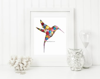 Button Art Hummingbird 16x20 Button Art & Swarovski Crystal Art Hummingbird art bird 16x20