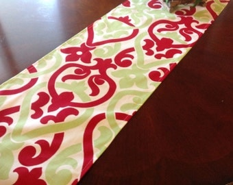 Table Runner  Red, Green, and White Damask Style Design Holiday Table Runner - Holidays Home Decor Weddings Parties