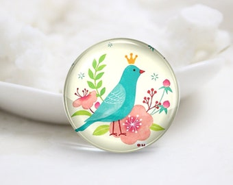 10mm 12mm 14mm 16mm 18mm 20mm 25mm 30mm Handmade Round Photo Glass Cabochon-Bird (P3052)