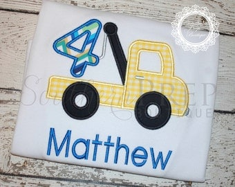 Tow Truck Birthday Shirt - 4th Birthday - FOUR Birthday Shirt - Boys Applique Designs