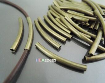 Finding - 10 pcs Antique Brass Curve Arc Tubes 30mm x 3mm ( inside 2mm Diameter )
