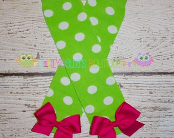 Girl's leg warmers with bows - Pink and Green