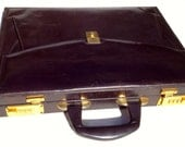 Vintage leather briefcase by Rona just perfect for a mac laptop brown leather and beige suede interior