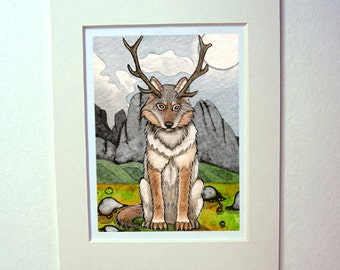 Antlered Wolf pagan themed matted art print watercolor painting magical horned wolf