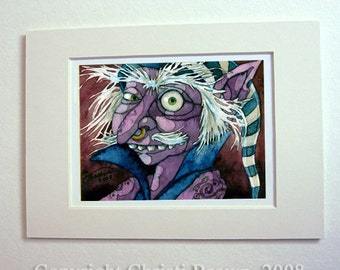 Pirate art print Goblin Watercolor painting matted 5x7 Fantasy Art gift