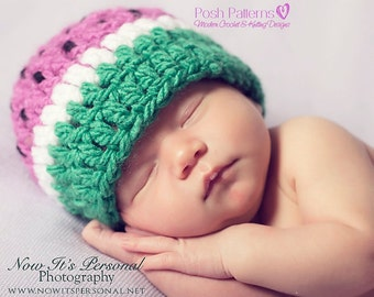 Crochet PATTERN - Watermelon Hat Crochet Pattern - Crochet Pattern Hat - Baby Crochet Pattern - Fruite Hat - Includes 3 Sizes - PDF 254