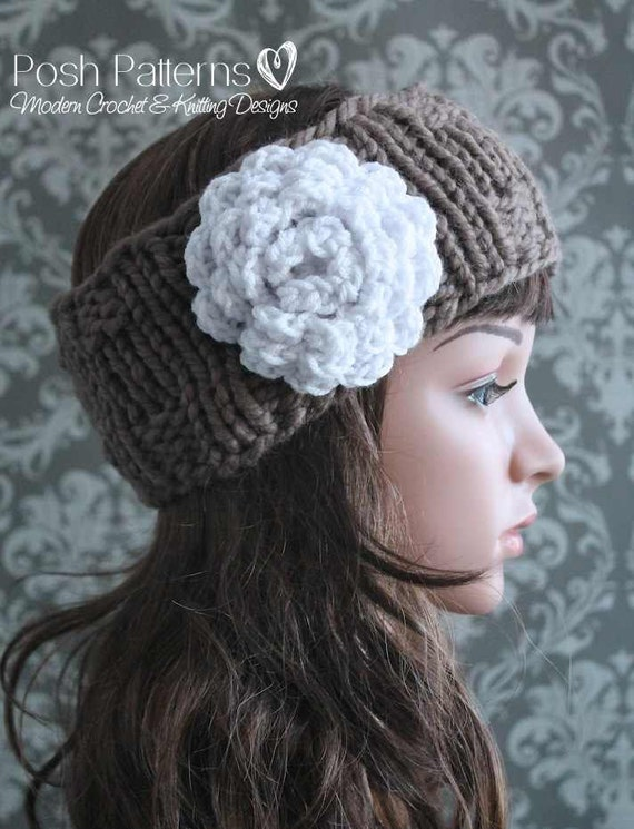 Knit Headband Pattern In The Round : Knitting PATTERN Knit Headband Pattern Ear by PoshPatterns
