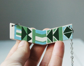 Hand painted chevron necklace,geometric necklace,wood necklace,modern necklace