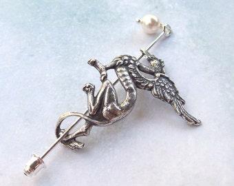 Silver Dragon Shawl Pin, Dragon Scarf Pin, Silver Shawl Pin, sweater pin, hair slide, barrette, silver filled, fall fashion, hat pin
