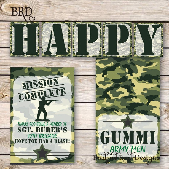 Army Party Printables Military Special Forces Airsoft Party – Army Birthday Cards