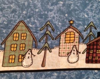 Leslie Beck Snowmen Fabric  Border - Vintage - OOP