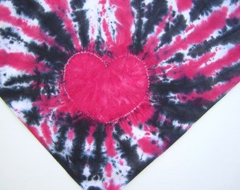 Tie-dyed Bandana with Pink Heart