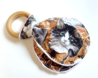 Wooden Teething Ring, Baby, Teether, Eco-Friendly, Cat, Cat Lover