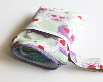 Hanging travel size wet bag, cloth diapers, diaper clutch, wipes, potty training, cloth pads bag, alexander henry cats: MADE TO ORDER