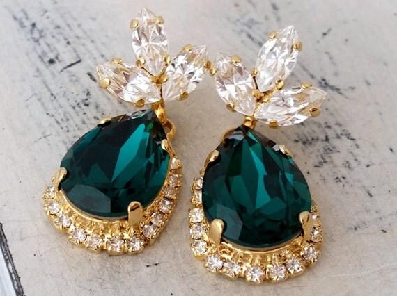 Emerald green Chandelier earrings Drop by EldorTinaJewelry ...