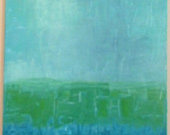 Abstract Acrylic Painting - TURQUOISE DREAM - 15 x 30