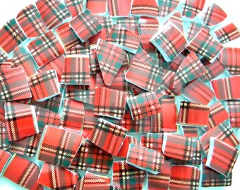 Bright and Cheery Red Tartan Plaid - Mosaic China Tiles