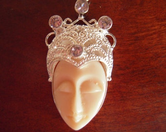 Balinese Princess Hand Cared Face With Pink Topaz...Set In 925 Sterling Silver ...ON SALE