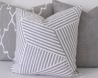 Nate Berkus gray and white modern geometric striped decorative pillow cover