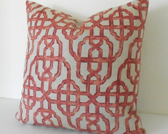 Both sides, Red trellis decorative pillow cover, imperial lattice pillow