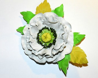 Leather brooch! Poppy - leather flower!White/green leather brooch!