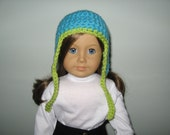 Reserved for Katie: Ear Flap hat + scarf - Bright Turquoise with Lime Green trim