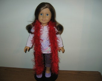"Hand-Knit Red Funfur Scarf  for 18"" 18 inch Dolls"