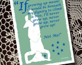 Birthday Card Peter Pan Grow Up Silhouette Green Blue White