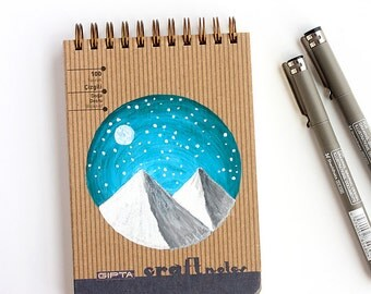 Handpainted Spiral notebook with hardcover Mountains and moon