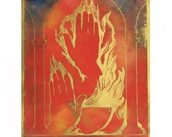 Seven Days: First Flame. Large woodblock print, Unique Colour Variation 10