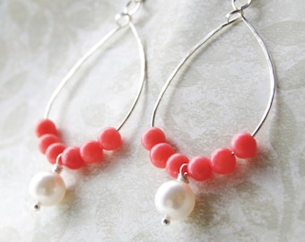 Dangle Earrings Pink Coral Swarovski Pearl Sterling Silver or Gold Beaded Hoop Coral Bridesmaid Earrings Coral Pearl Wedding Jewelry