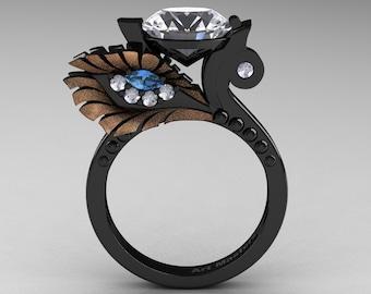 High Fashion Nature Inspired 14K Black Rose Gold 3.0 Ct White Sapphire Blue Topaz Diamond Marquise Eye Engagement Ring R359S-14KBRGDBTWS