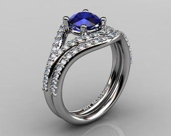 Nature Inspired 10K White Gold 1.0 Ct Blue Sapphire Diamond Classic Vine Engagement Ring Wedding Band Set R517S-10KWGDBS