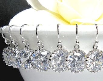Bridal jewelry - Cubic Zirconia earrings - Sterling Silver - Wedding Jewelry - Sparkling - Would make a great Gift -