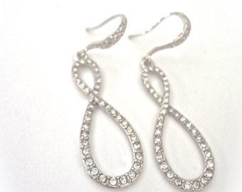 Bridal jewelry ~ Infinity earrings ~ Crystal rhinestone ~ Long ~ Sterling silver ear wires ~ Beautiful  ~ Sparkling  ~ Wedding earrings ~