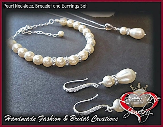 Bridal jewelry set - Pearl and Crystal Rondel Bracelet, Necklace and Earring Set ~ Elegant ~ Bridal Jewelry ~  Bridesmaids ~ Prom ~ Gift