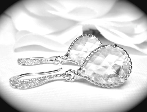 Bridal Jewelry ~ Earrings ~ Clear ~ Crystal ~ Teardrop Earrings ~ Sterling Silver ~ Brides earrings ~ Bridesmaids ~ Gift