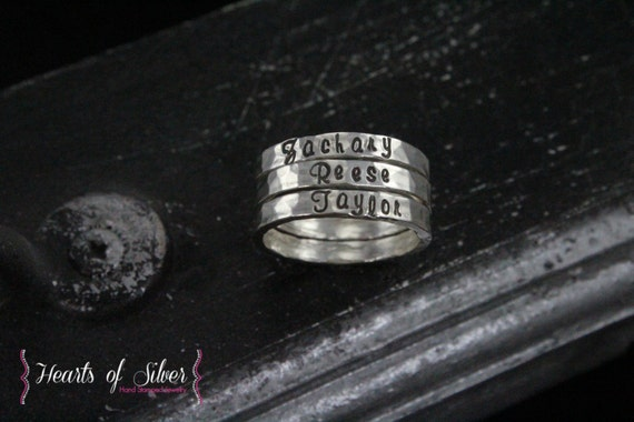 Personalized Rings - Hand Stamped Stacking Rings - Handmade Fine Silver Hammered Stacking Ring - Posey Rings