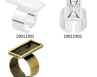 10PCS 24*8mm Adjustable Rectangle Ring Bezel Setting fit Swarovski 100119