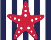 Red and Navy Blue Nursery, Nautical Nursery Print, Starfish Nursery Print, Nautical Decor - 8x10