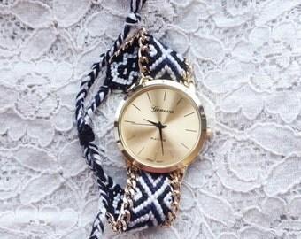 Monochrome friendship bracelet style watch