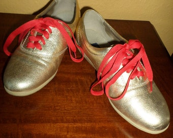 Easy Spirit/GOLD LAME SNEAKERS, Free Red Laces/Size 7M