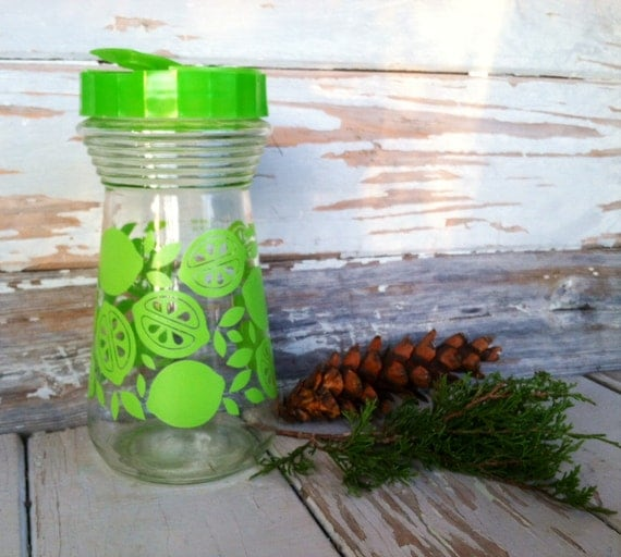 Retro Lime Pitcher - Transfer Ware Glass, Retro Kitsch Juice Container, Water Container or Pitcher, Juice Bottle, Serving Breakfast Drink