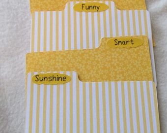 Index Dividers - Recipe Box Dividers.- Dividers -  Single Dividers - Custom - You pick your design - Shower Gift