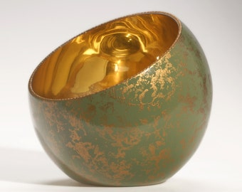"Unique Slant Glass Green Patina Bowl, ""In My Garden"", Verre Eglomisé, Reverse Gilded and Painted Glass Bowl, Home Decor"