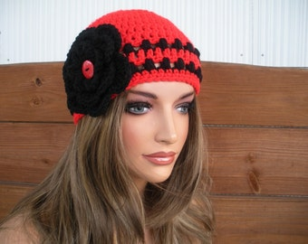 Womens Hat Crochet Hat Winter Fashion Accessories Women Beanie Hat Cloche in Cherry red with Black stripes and Crochet flower