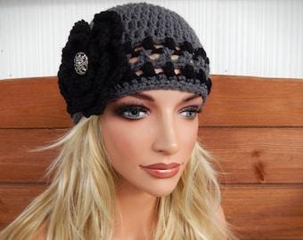 Crochet Hat Womens Hat Winter Fashion Accessories Women Beanie Hat Cloche in Charcoal Gray with Black Crochet Flower