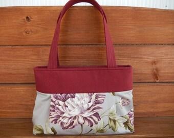 Handbag Purse Fabric Bag Accessories Women Handbag Pleated Bag Small Shoulder Bag in Taupe with Purple Peonies Print