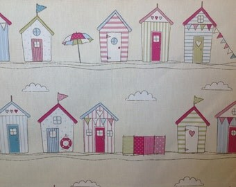 Fryetts pink beach huts cotton curtain fabric by the half metre