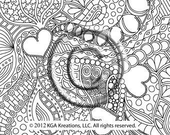 Instant PDF Digital Download Coloring Page Hand Drawn Zentangle Inspired Psychedelic Continuous Love Zendoodle Doodle Hippie By Kat